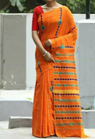 Orange Khesh Applique Work Pure Khadi Sarees New Arrival