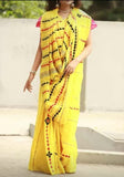 Yellow Khesh Applique Work Pure Khadi Sarees New Arrival