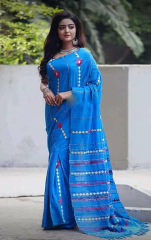 Blue Khesh Applique Work Pure Khadi Sarees New Arrival