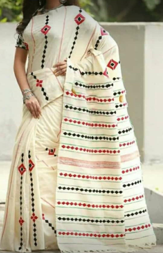 Beige Khesh Applique Work Pure Khadi Sarees New Arrival