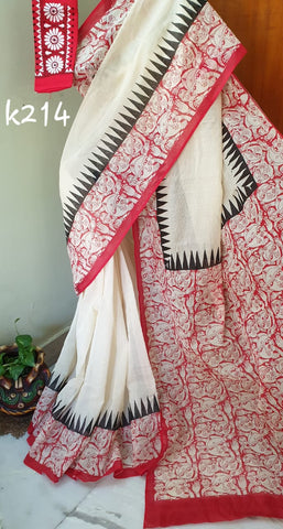 White Red KK Kota Doriya Sarees New Arrival