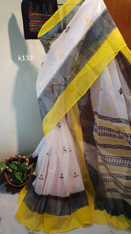 White Yellow KK Kota Doriya Sarees New Arrival