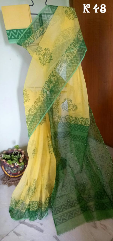 Yellow Green KK Kota Doriya Sarees New Arrival