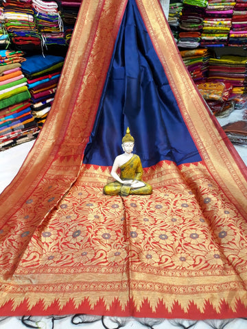 Red Blue Handloom Banarasi Weaving Cotton Silk Sarees