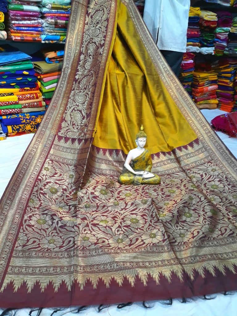 Yellow Beige Handloom Banarasi Weaving Cotton Silk Sarees