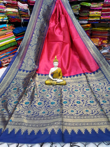 Blue Purple Handloom Banarasi Weaving Cotton Silk Sarees