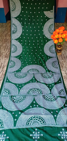 Green Kantha Stitch On Art Silk Sarees