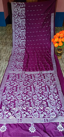 Purple Kantha Stitch On Art Silk Sarees