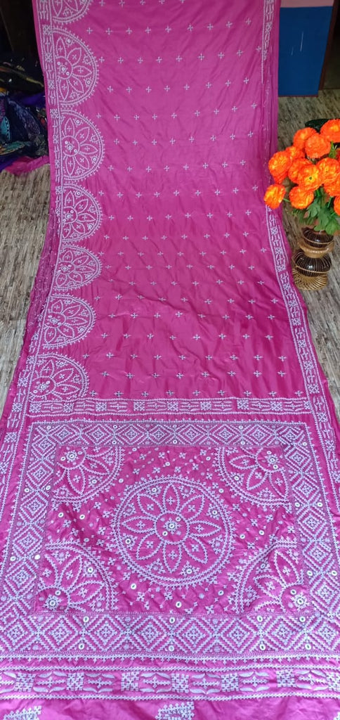 Pink Kantha Stitch On Art Silk Sarees