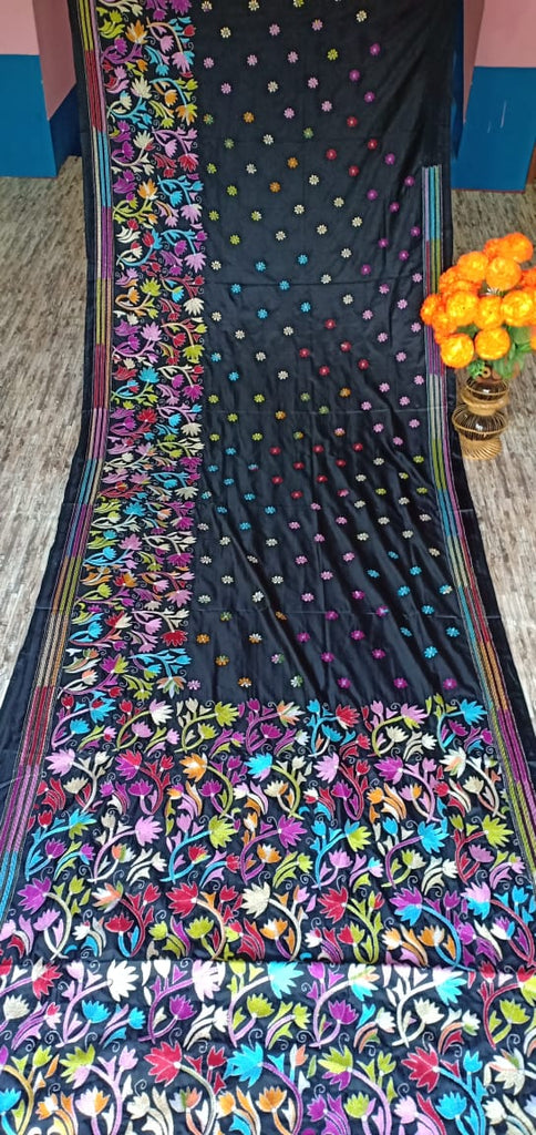Black Kantha Stitch On Art Silk Sarees