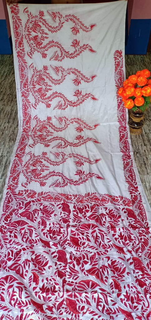 White Kantha Stitch On Art Silk Sarees