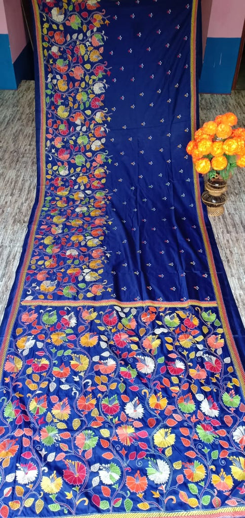 Blue Kantha Stitch On Art Silk Sarees