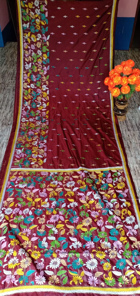 Maroon Kantha Stitch On Art Silk Sarees