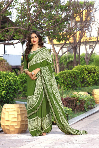 Traditional Peach Beige Green Bandhan Printed Faux Georgette Sarees