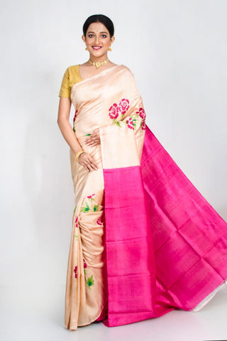 Beige Pink Pure Murshidabad Silk Sarees (Add to Cart Get 15% Extra Discount)