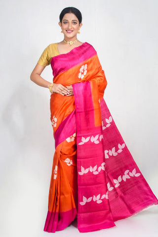 Orange Pink Pure Murshidabad Silk Sarees (Add to Cart Get 15% Extra Discount)
