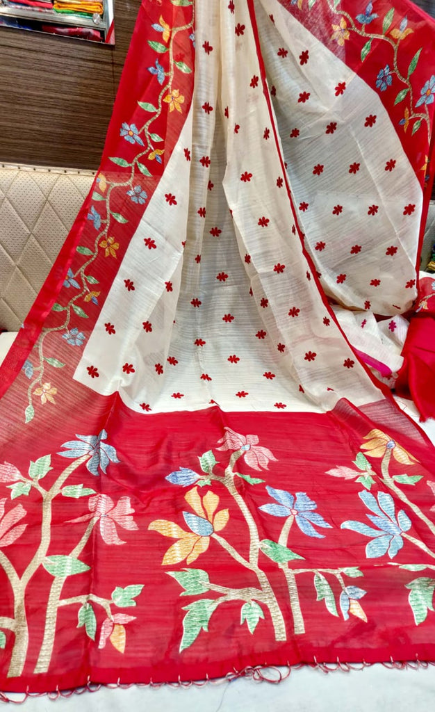 Red White Booty Embodery Work Khadi Silk Sarees New Arrival