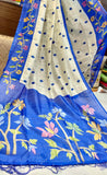 Blue White Booty Embodery Work Khadi Silk Sarees New Arrival