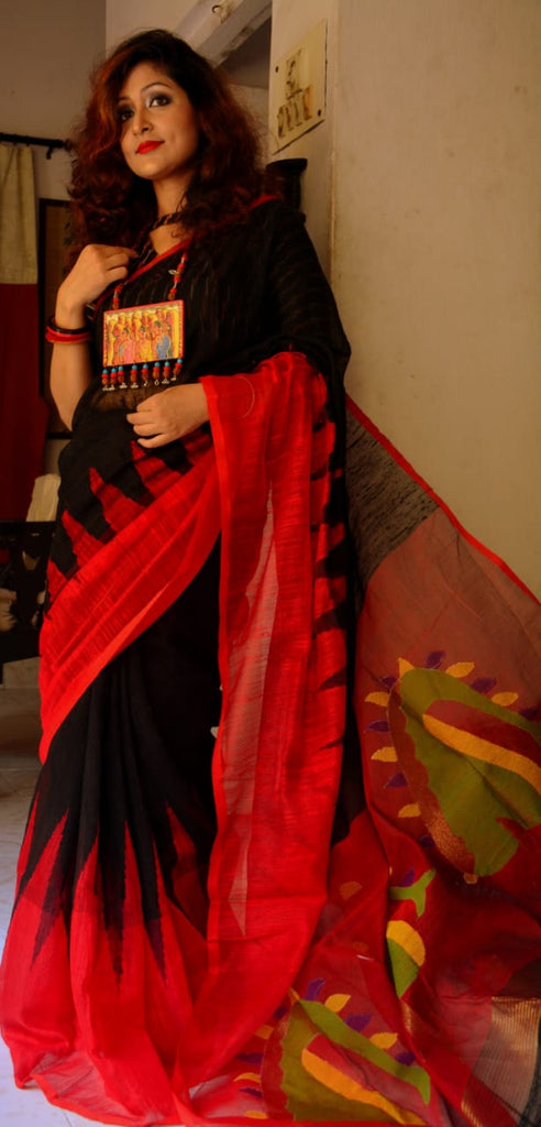 Black Red Hand Work Matka Jamdani Sarees New Arrival
