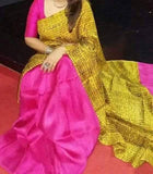 Yellow Pink Pure Murshidabad Silk Sarees (Add to Cart Get 15% Extra Discount)