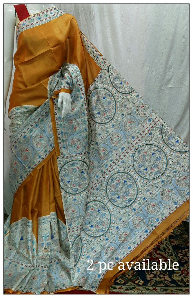 Orange Tussar Silk Madhubani Sarees