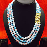 Blue White Multi Beads Mala