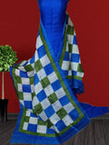 Handpicked Blue & White ,Green Murshidabad Silk Top & Dupatta
