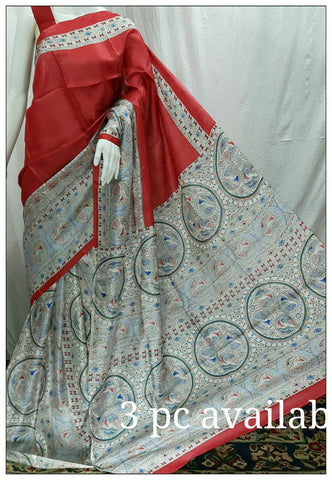 Red & White Tussar Silk Madhubani Sarees
