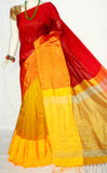 Red Yellow Mahapar Cotton Silk Sarees
