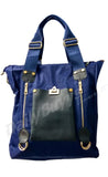 Gorgeous Navy Blue and black Zip Totes