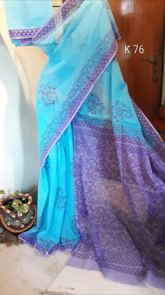 Blue Purple KK Kota Doriya Sarees