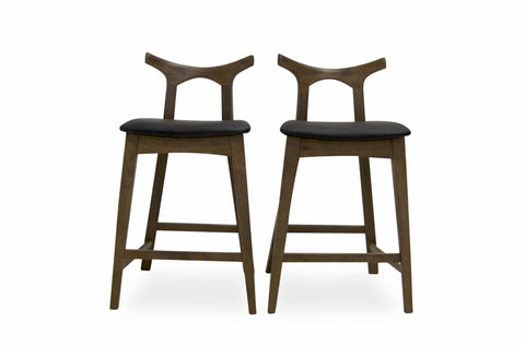 "Dora Counter Stool 25"" (Black Leather - Set of 2) - TB3 Home"