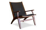 Bogor Black Leather Lounge Chair - TB3 Home
