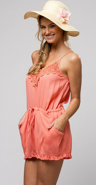 """Coral And Lace"" Romper"