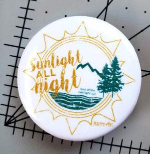 """Sunlight All Night"" Sticker and Button - Headband Happy AK"