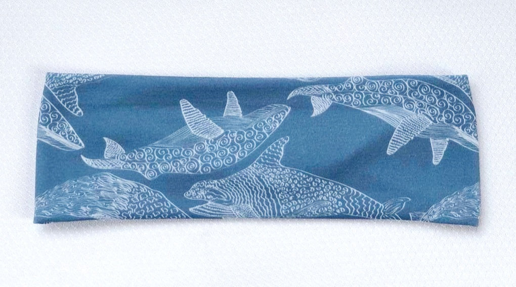 Dusty Blue Whale Sketch - Headband Happy AK