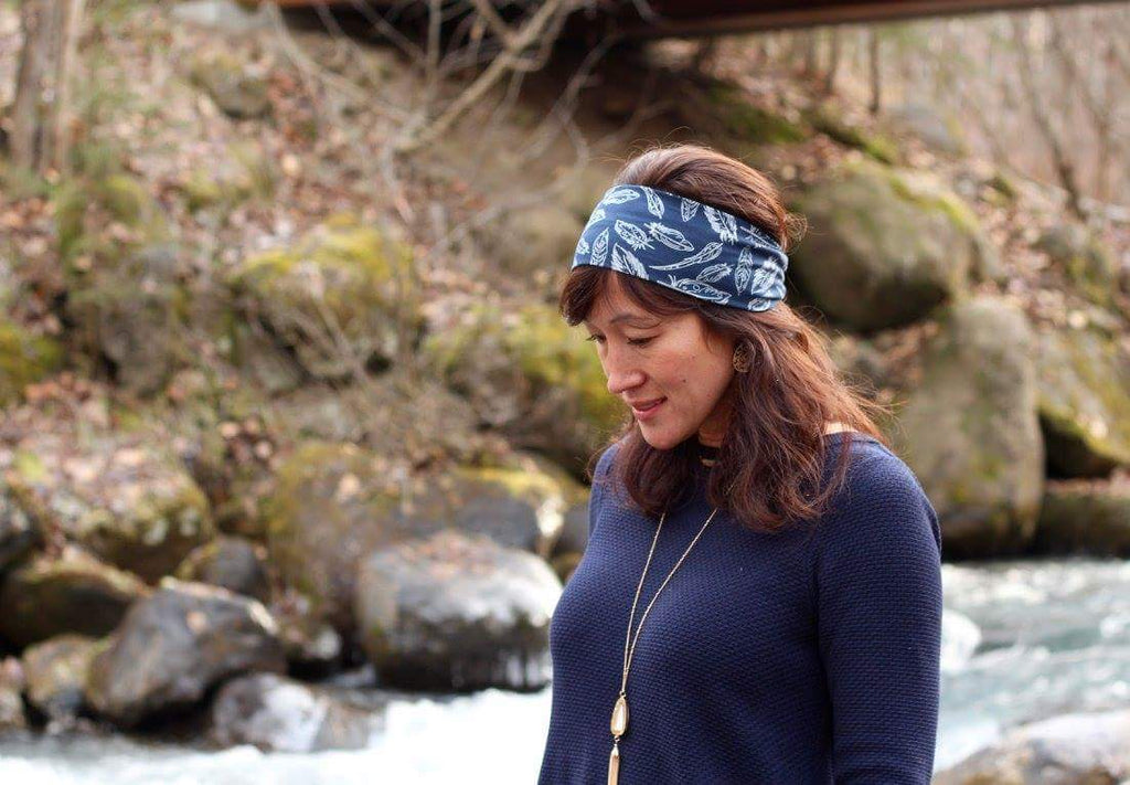 Navy Feathers Headband - Headband Happy AK