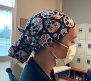 Tie Caps/ Nursing/ Scrub Cap/ Dental - Headband Happy AK