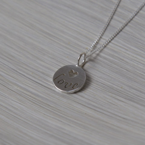 Love Disc Pendant on Chain