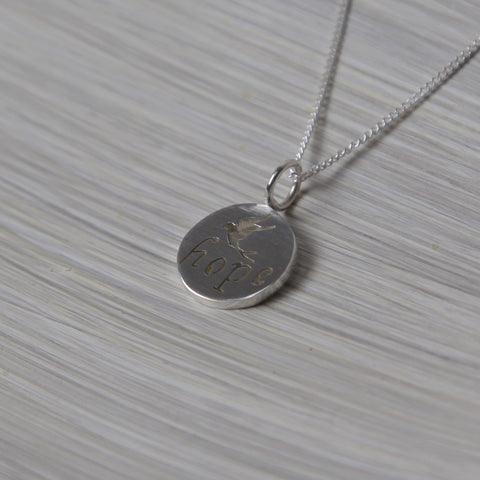 Hope Disc Pendant on Chain