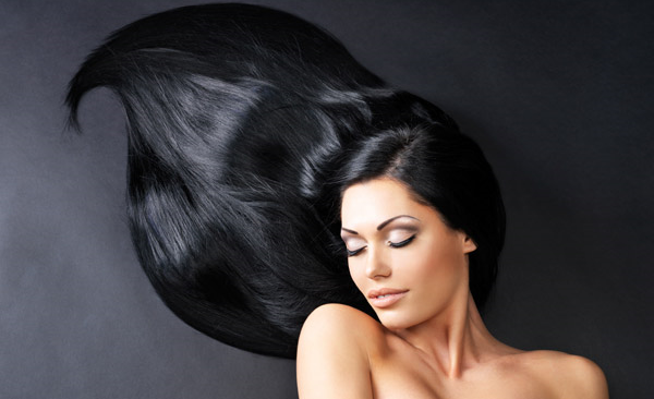 woman with long healthy black hair