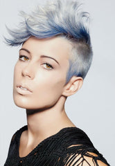 Lady with Blue and silver ombre hair style