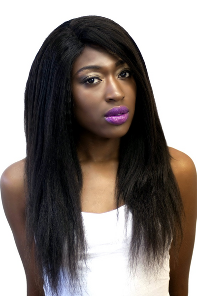 Girl wearing Brazilian Yaki Straight Hair Extension