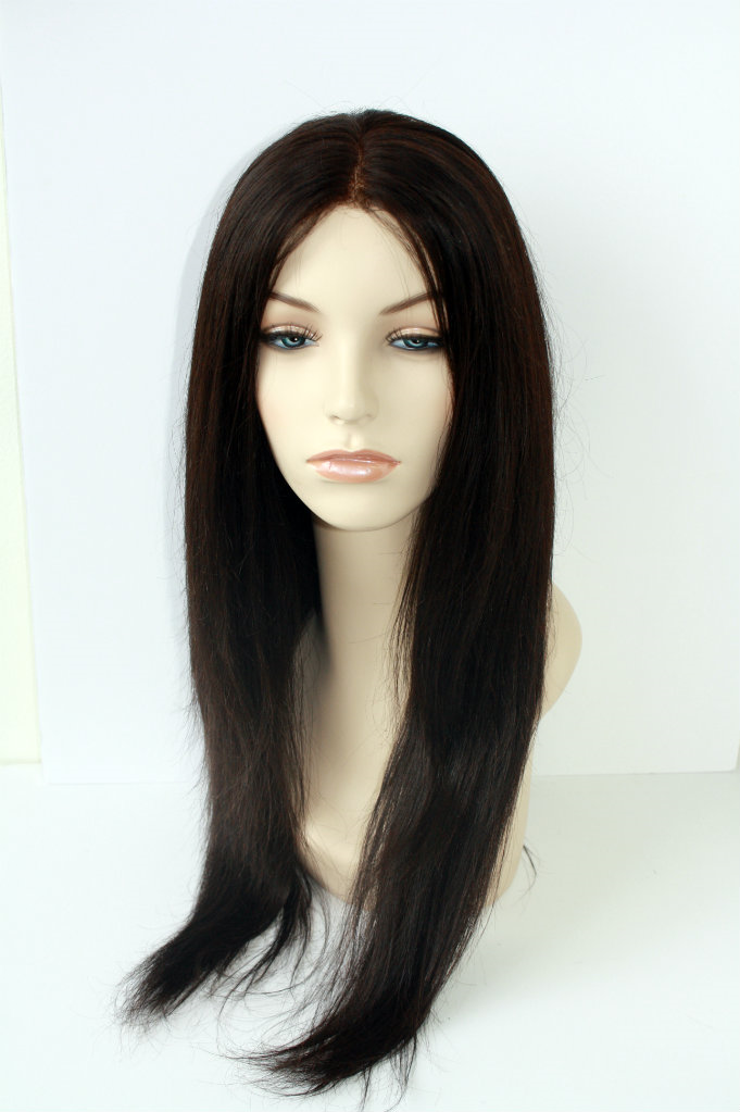 Girl wearing Malaysian Natural Straight Lace Wig
