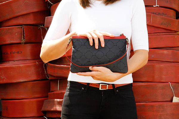 Firehose & Hide Clutch | Upcycled, Recycled, Repurposed, Reimagined | Changing Tides