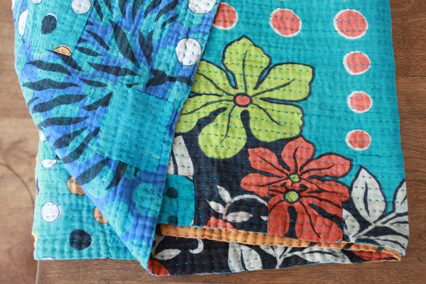 Kantha Table Runner - Blue | Upcycled, Recycled, Repurposed, Reimagined | Changing Tides