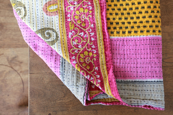 Kantha Table Runner - Magenta | Upcycled, Recycled, Repurposed, Reimagined | Changing Tides