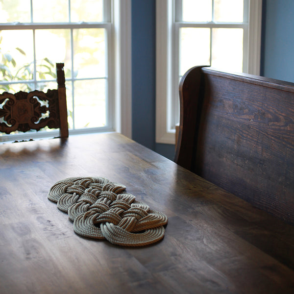 Halibut Rug - Tan Oval | Upcycled, Recycled, Repurposed, Reimagined | Changing Tides