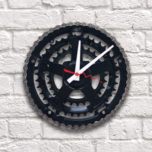 Clock - Black Bike Gear and Crank | Upcycled, Recycled, Repurposed, Reimagined | Changing Tides