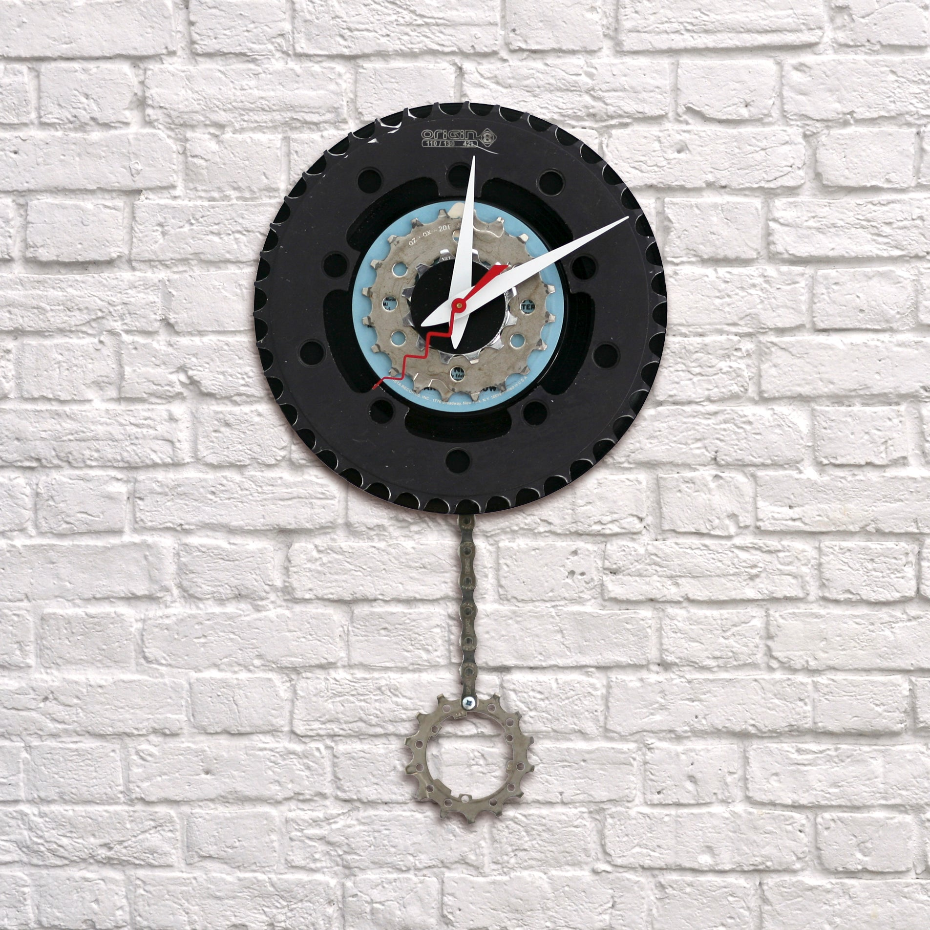 Clock - Bike Gear with Pendulum | Upcycled, Recycled, Repurposed, Reimagined | Seeds for Kindness